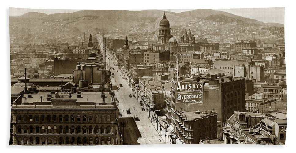 San Francisco Beach Towel featuring the photograph Looking Up Market Street From The Call Building With City Hall Circa 1900 by California Views Archives Mr Pat Hathaway Archives