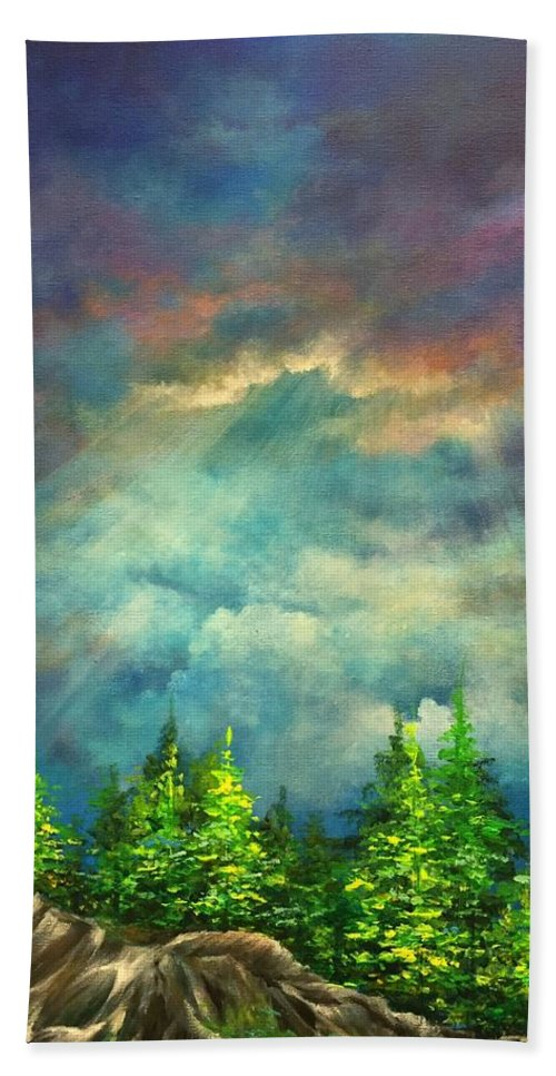 Landscape Beach Towel featuring the painting Looking Up by Vesna Delevska