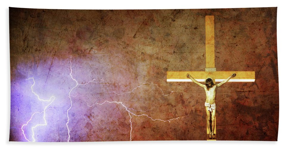 Lightning Beach Towel featuring the photograph Lord Have Mercy - Crucifixion Of Jesus -2011 by James BO Insogna