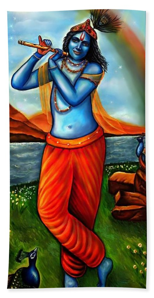 Lord Krishna Beach Towel featuring the painting Lord Krishna- Hindu Deity by Carmen Cordova