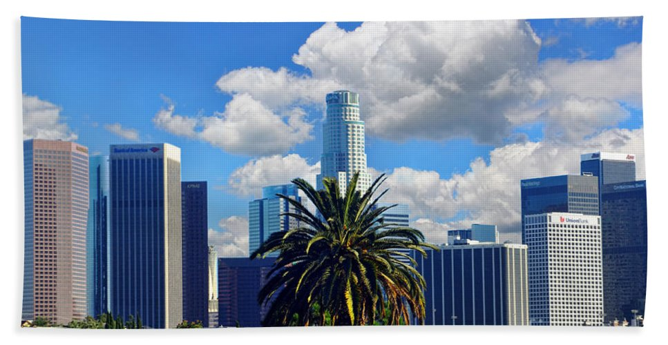 Los Angeles Beach Towel featuring the photograph Los Angeles And Palm Trees by Mariola Bitner