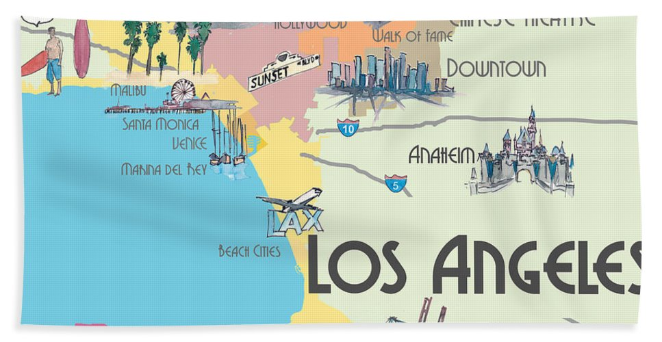 Los Angeles California Mapa.Los Angeles California Map Of Greater L A With Highlights Beach Towel