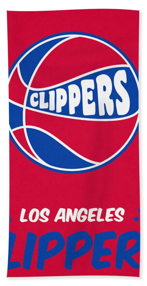 Clippers Beach Towel featuring the mixed media Los Angeles Clippers Vintage Basketball Art by Joe Hamilton