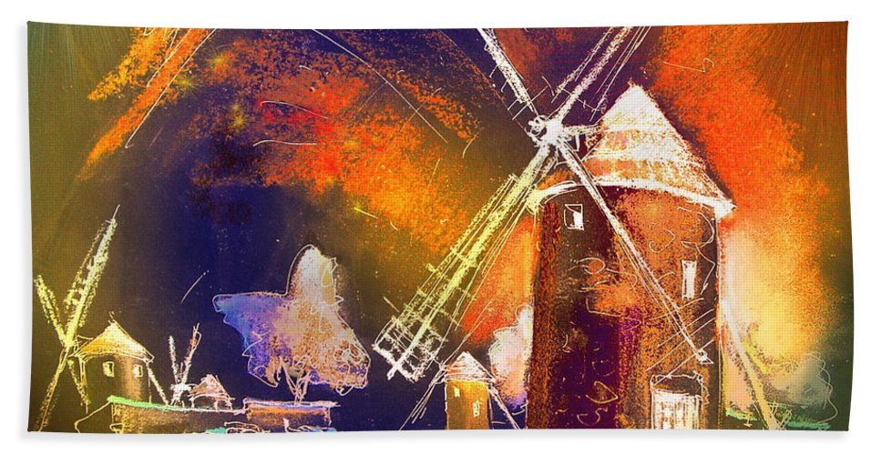 Beach Towel featuring the painting Los Molinos Del Quijote 01 by Miki De Goodaboom