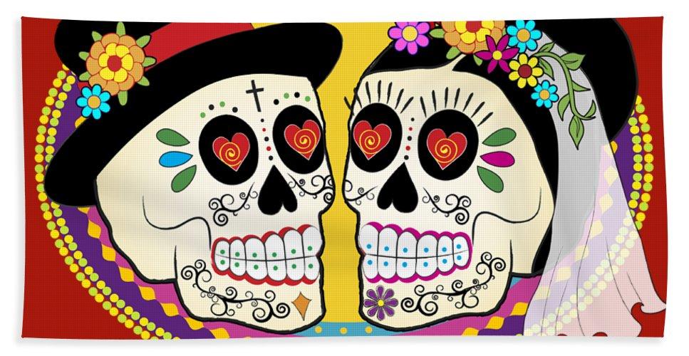 Sugar Skull Wedding Beach Towel featuring the digital art Los Novios Sugar Skulls by Tammy Wetzel
