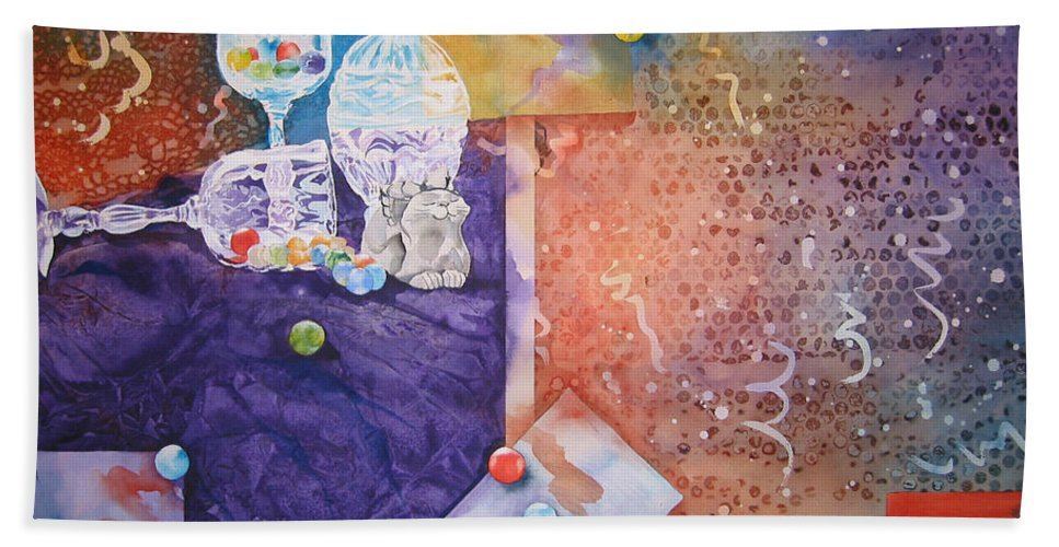 Marbles Beach Towel featuring the painting Losing My Marbles by Jean Blackmer