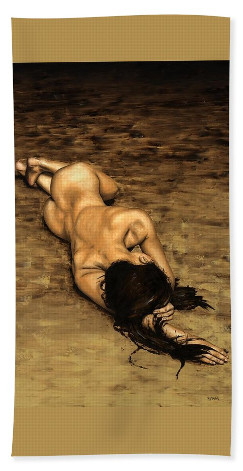 Nude Beach Towel featuring the painting Loss by Richard Young