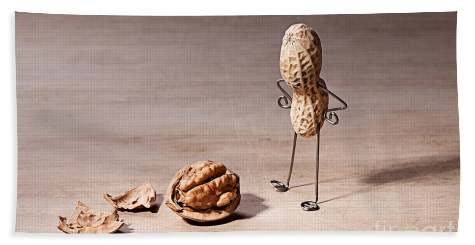 Peanut Beach Towel featuring the photograph Lost Brains 01 by Nailia Schwarz