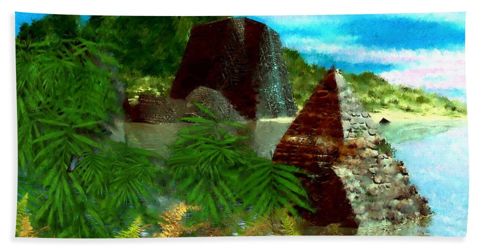 Digital Fantasy Painting Beach Sheet featuring the digital art Lost City by David Lane
