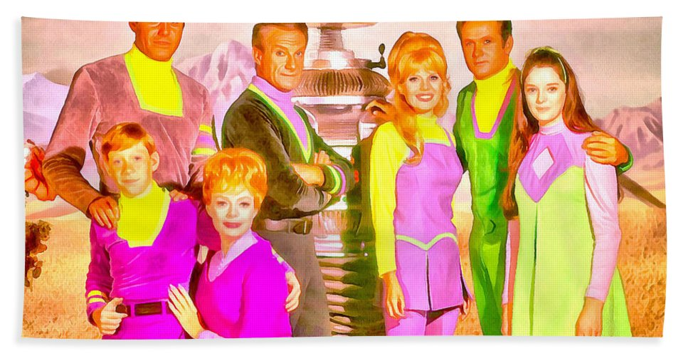 Lost In Space Beach Towel featuring the painting Lost In Space Team - Pa by Leonardo Digenio