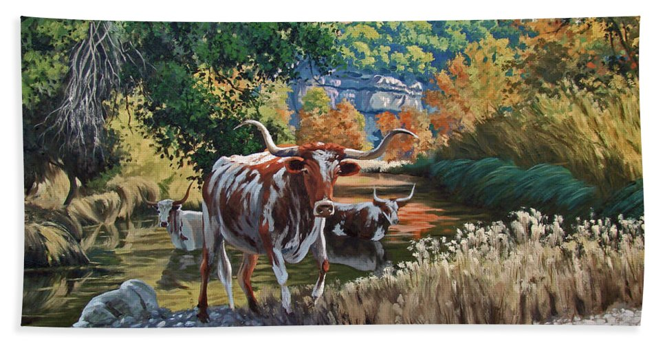 Texas Beach Towel featuring the painting Lost Maples Watering Hole by Russell Cushman