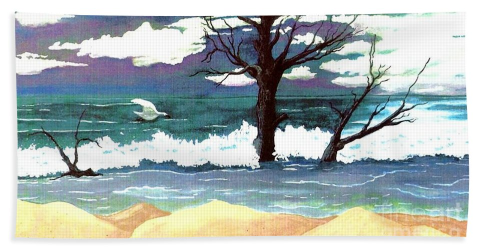 Original Watercolor Painting Beach Towel featuring the painting Lost Swan by Patricia Griffin Brett
