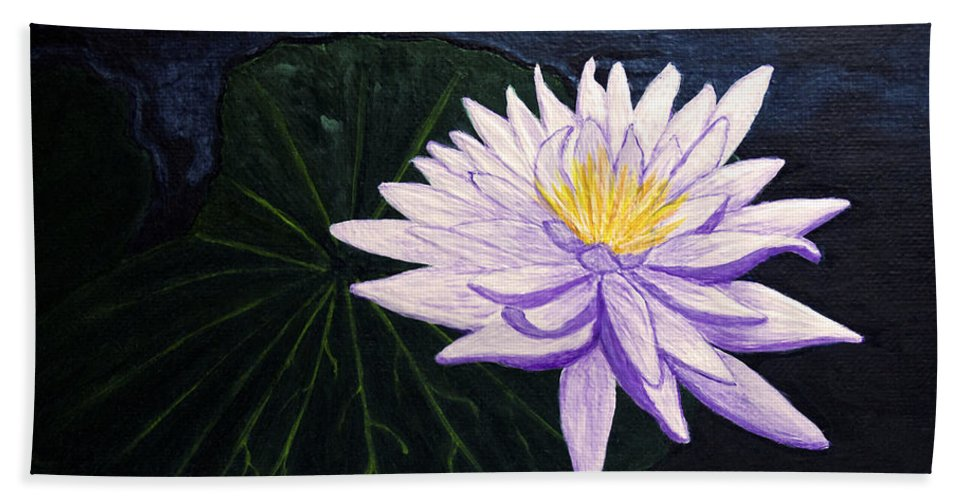 Original Painting Beach Towel featuring the painting Lotus Blossom at Night by Patricia Griffin Brett