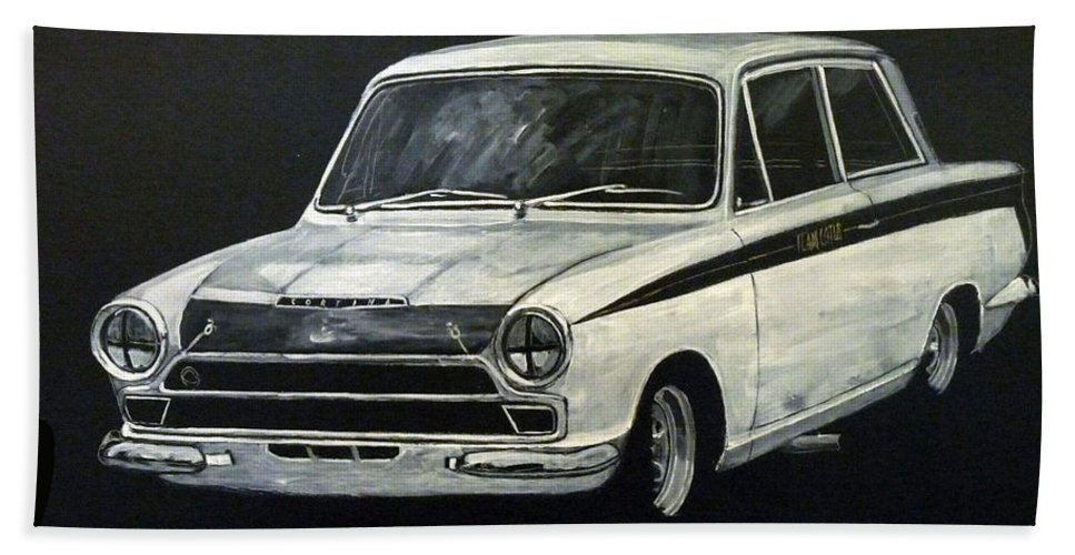 Lotus Cortina Beach Towel featuring the painting Lotus Cortina by Richard Le Page