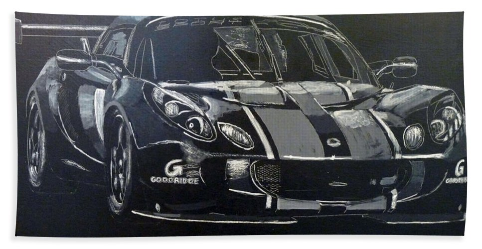 Lotus Exige Gt3 Beach Towel featuring the painting Lotus Exige Gt3 by Richard Le Page