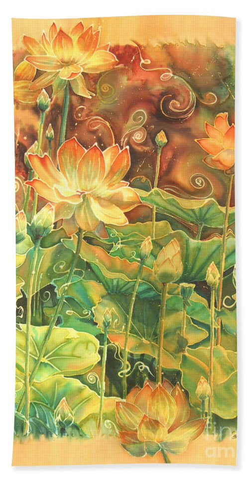 Flower Beach Towel featuring the painting Lotus Field by Deborah Younglao