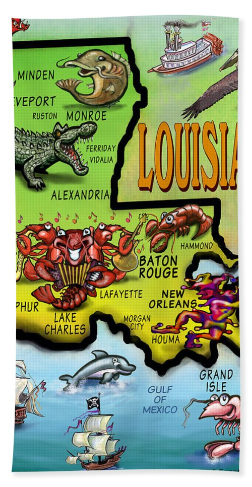 Louisiana Beach Towel featuring the digital art Louisiana Cartoon Map by Kevin Middleton