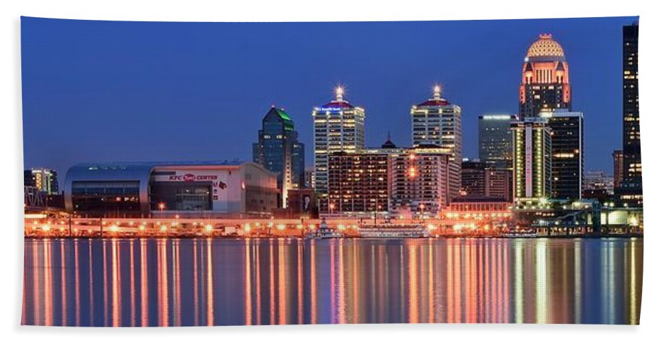 Louisville Beach Towel featuring the photograph Louisville Panoramic At Blue Hour by Frozen in Time Fine Art Photography