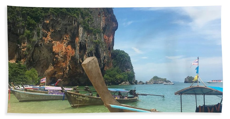 Thailand Beach Towel featuring the photograph Lounging Longboats by Ell Wills