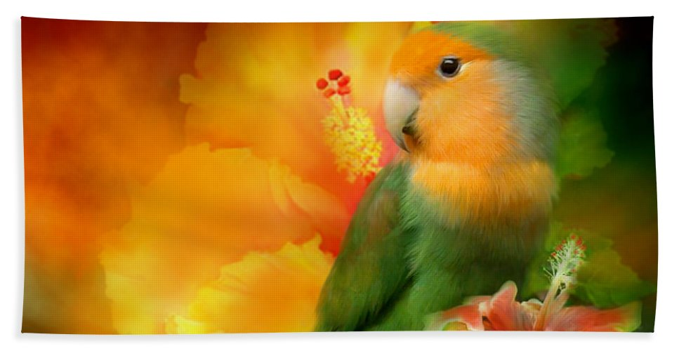 Lovebird Beach Towel featuring the mixed media Love Among The Hibiscus by Carol Cavalaris