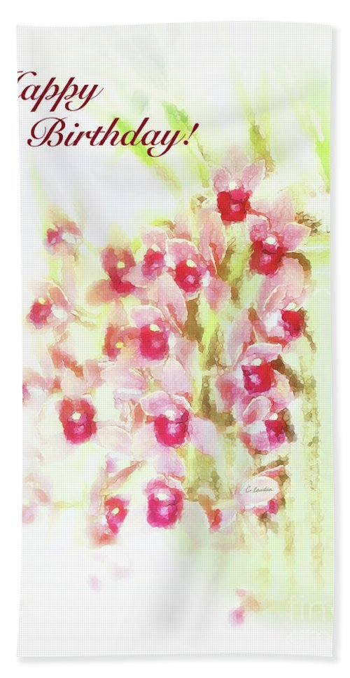 Birthday Card For Women Beach Towel Featuring The Painting Love At First Sight