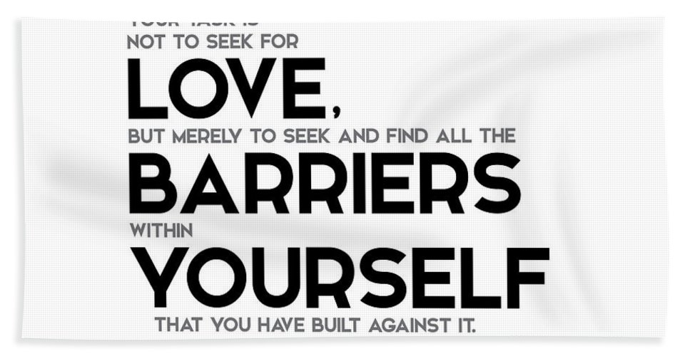 Love Barriers Within Yourself Rumi Beach Sheet For Sale By Razvan Drc