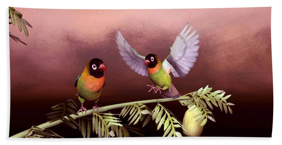Animals Beach Sheet featuring the digital art Love Birds By John Junek by John Junek