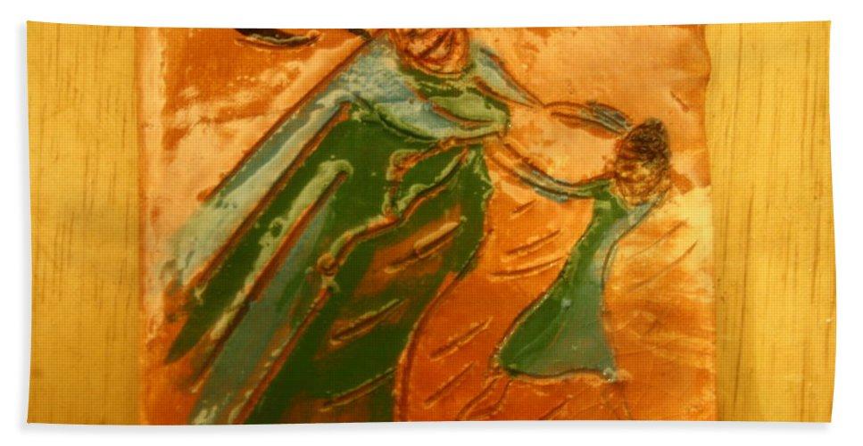 Jesus Beach Towel featuring the ceramic art Love Chain - Tile by Gloria Ssali