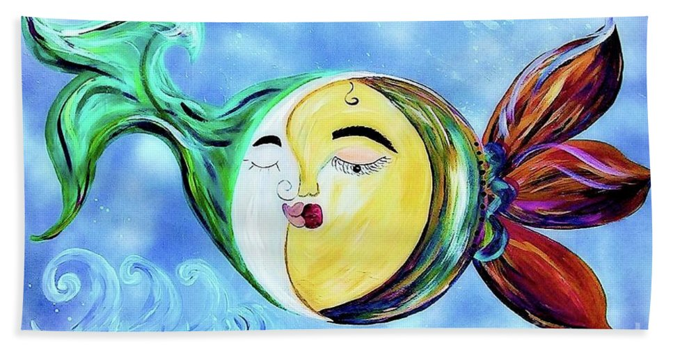 Contemporary Beach Towel featuring the painting Love Connect - You Are My Moon And Sun by Eloise Schneider