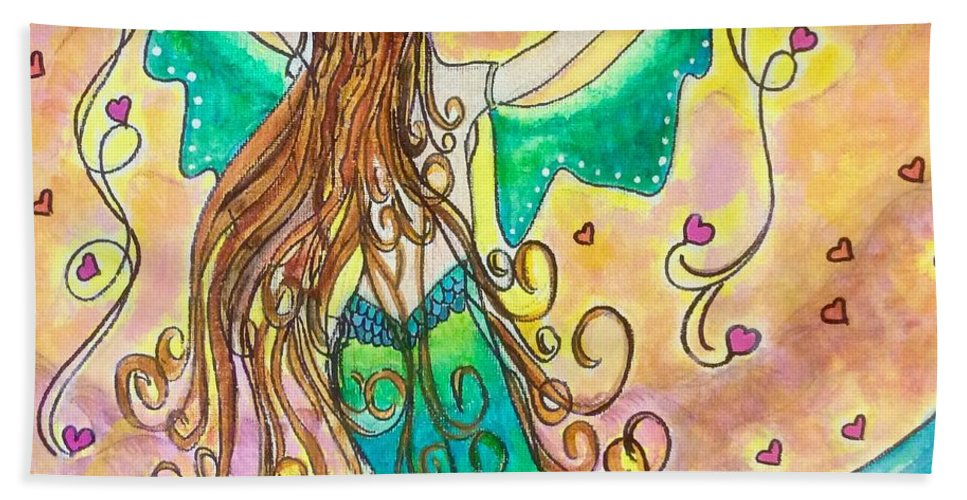 Sending Love Out To The World Beach Towel featuring the mixed media Love From The Sea by Ginny Santos-Snyder