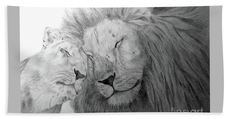 Lions Wild Cats Animals Drawing Pencil Paper Beach Towel featuring the drawing Love by Nadi Sabirova