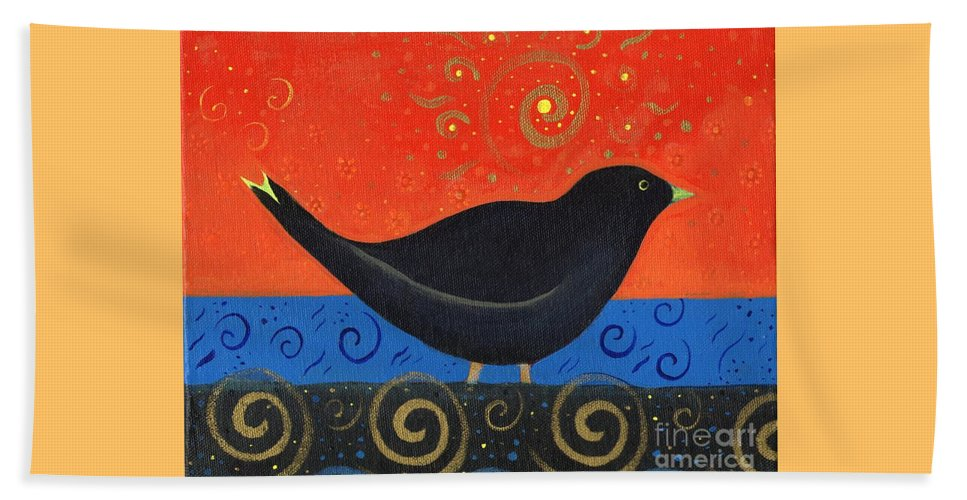 Black Bird Beach Towel featuring the painting Love Of Birds by Helena Tiainen