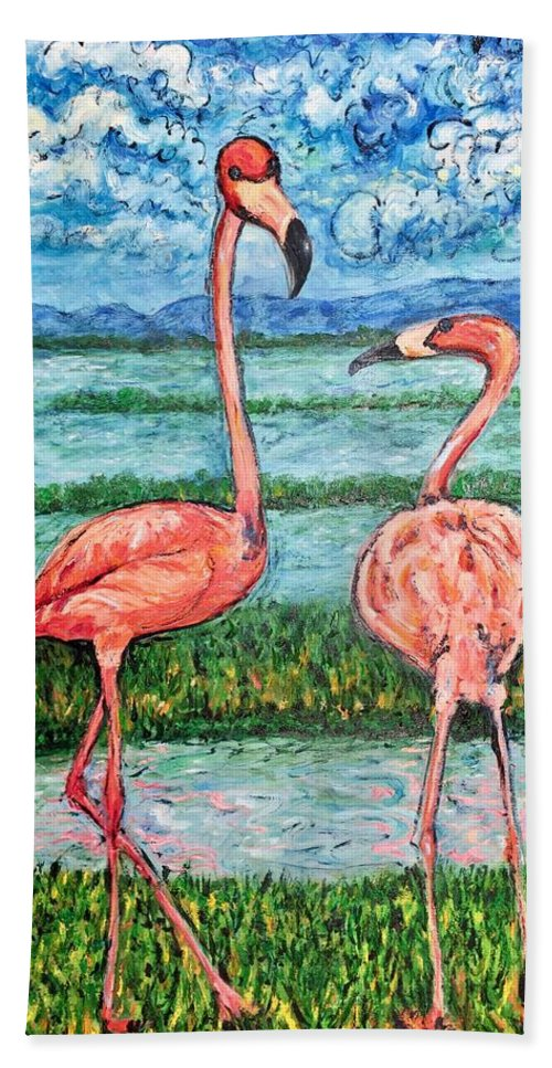 Lanscape Beach Towel featuring the painting Love Talk by Ericka Herazo