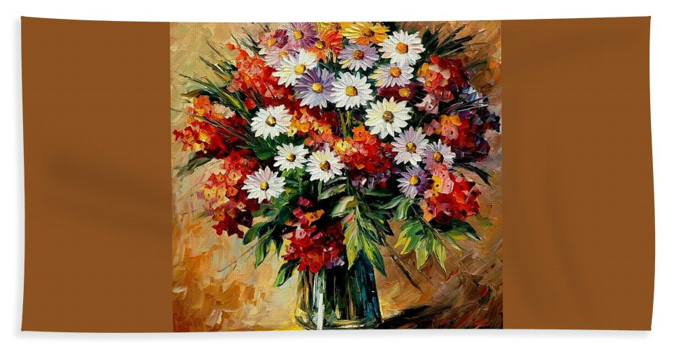 Still Life Beach Sheet featuring the painting Lovely Bouquet by Leonid Afremov