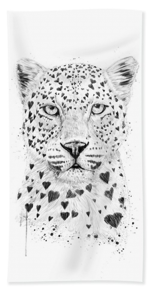 Leopard Beach Towel featuring the drawing Lovely leopard by Balazs Solti