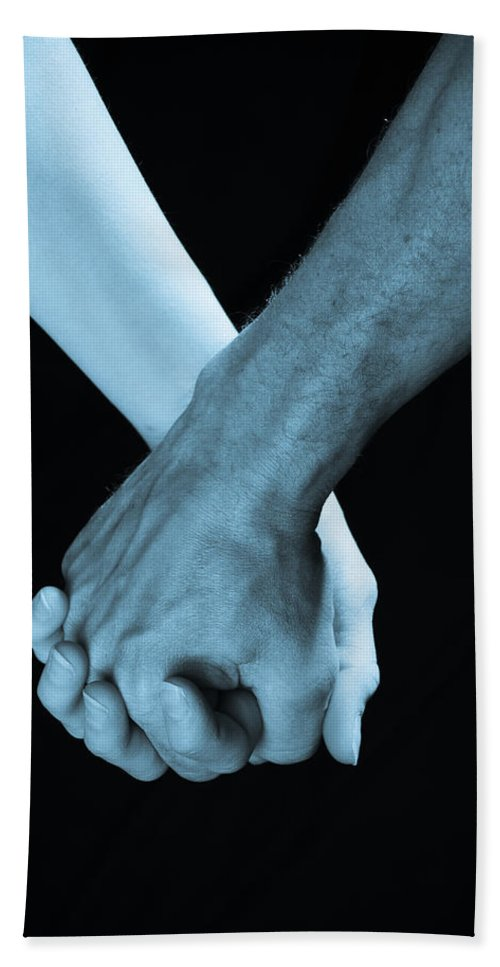 Hand Holding Beach Towel featuring the photograph Lovers Hands by Scott Sawyer