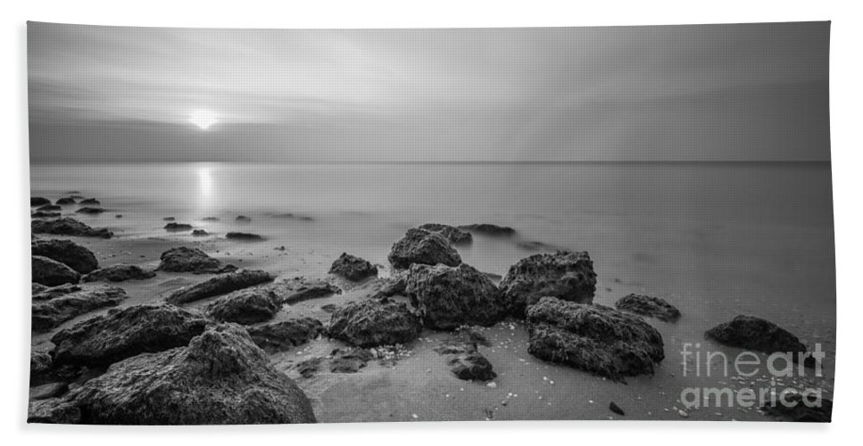 Low Tide Sunset Beach Towel featuring the photograph Low Tide Panorama Bw by Michael Ver Sprill