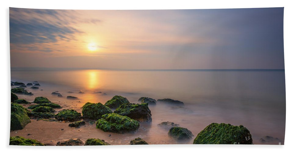 Low Tide Sunset Beach Towel featuring the photograph Low Tide Sunset by Michael Ver Sprill