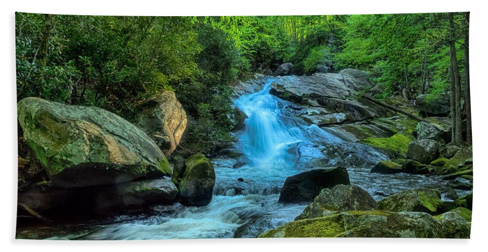 Waterfall Beach Towel featuring the photograph Lower Lynn Camp Falls Smoky Mountains by Martin Belan