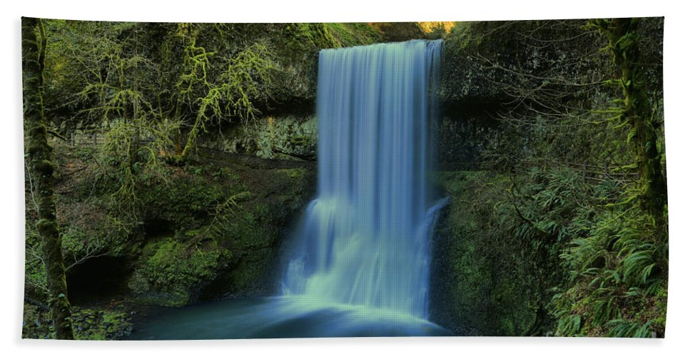Lower South Falls Beach Towel featuring the photograph Lower South Falls Landscape by Adam Jewell