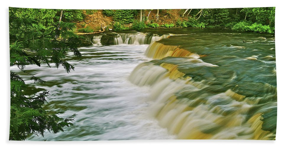 Tahquamenon Beach Towel featuring the photograph Lower Tahquamenon 6200 by Michael Peychich