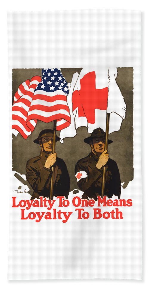 Red Cross Beach Towel featuring the painting Loyalty To One Means Loyalty To Both by War Is Hell Store