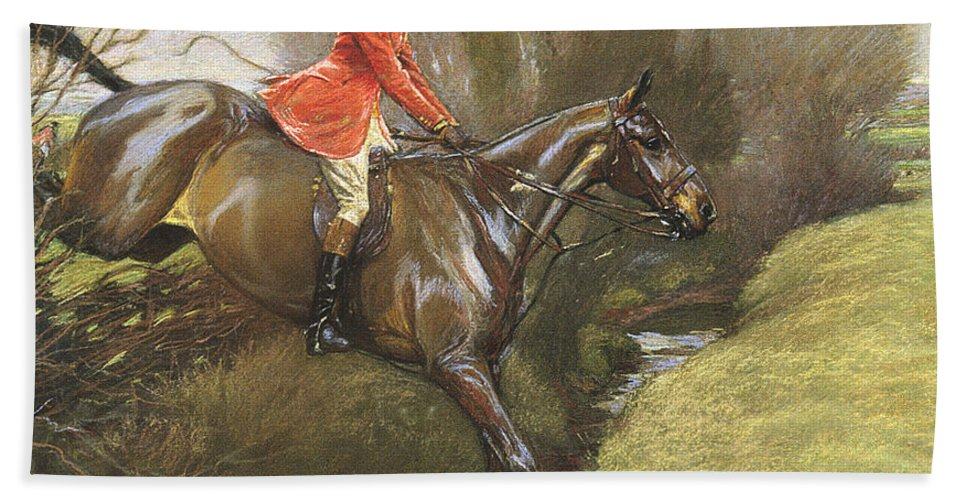 Lt. Col. Ted Lyon Jumping A Hedge Beach Towel featuring the painting Lt Col Ted Lyon Jumping A Hedge by Cecil Charles Windsor Aldin