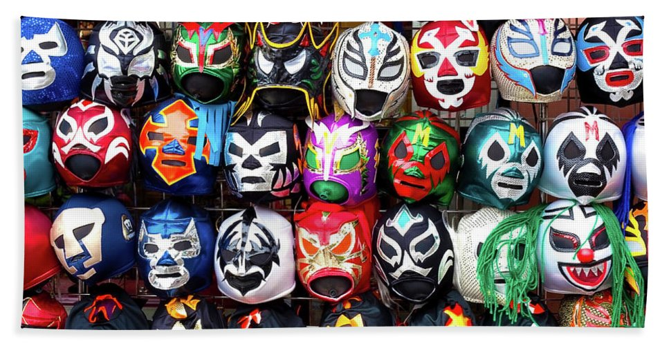 Colorful Beach Towel featuring the photograph Lucha Libre Wrestling Masks by Noel Baebler
