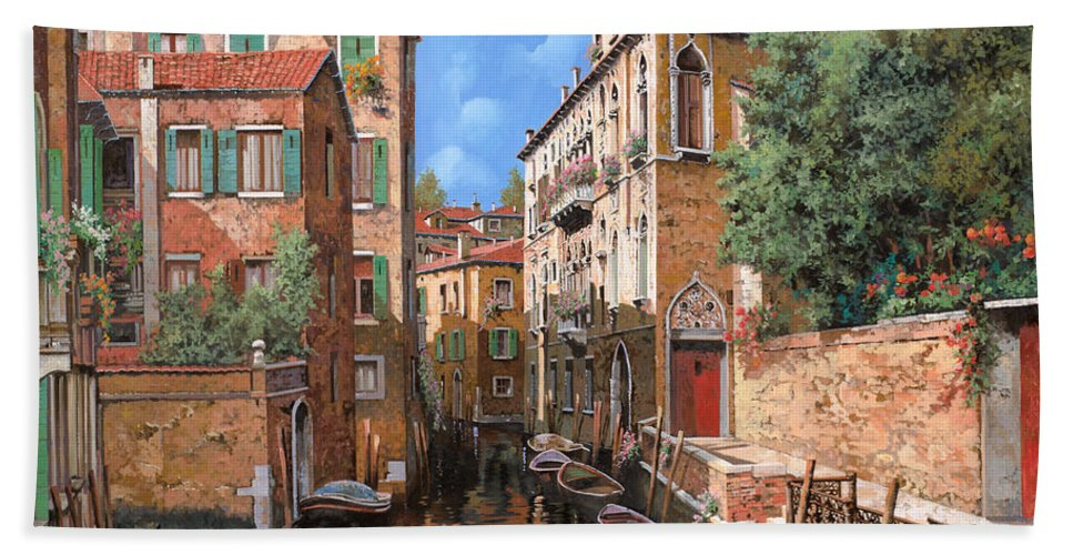 Venice Beach Towel featuring the painting Luci A Venezia by Guido Borelli