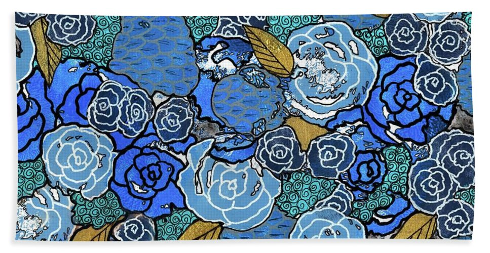 Abstract Painting Beach Towel featuring the painting Lucia's Flowers by Sarena Mantz