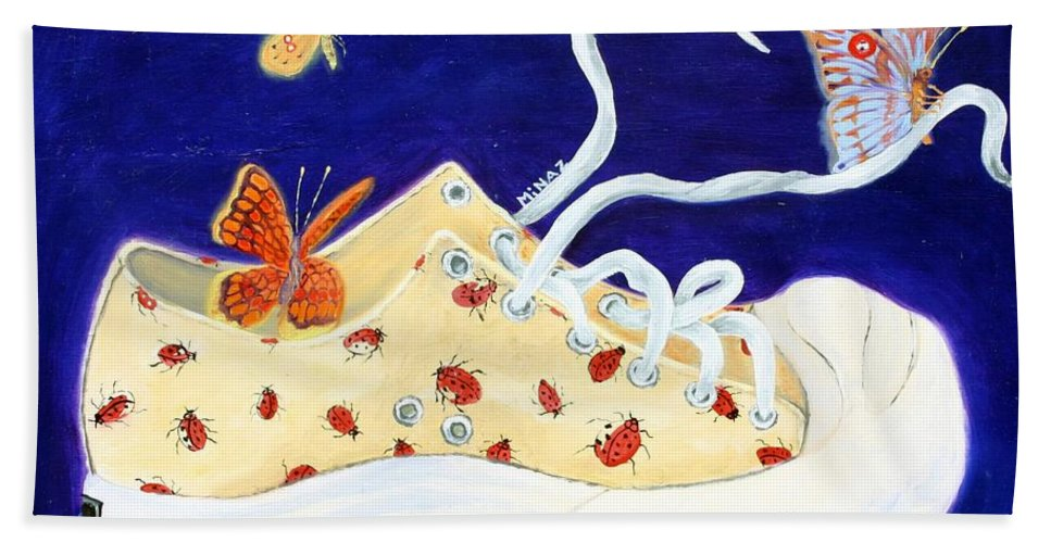 Running Shoes Beach Towel featuring the painting Lucky Lady Bug Shoe by Minaz Jantz