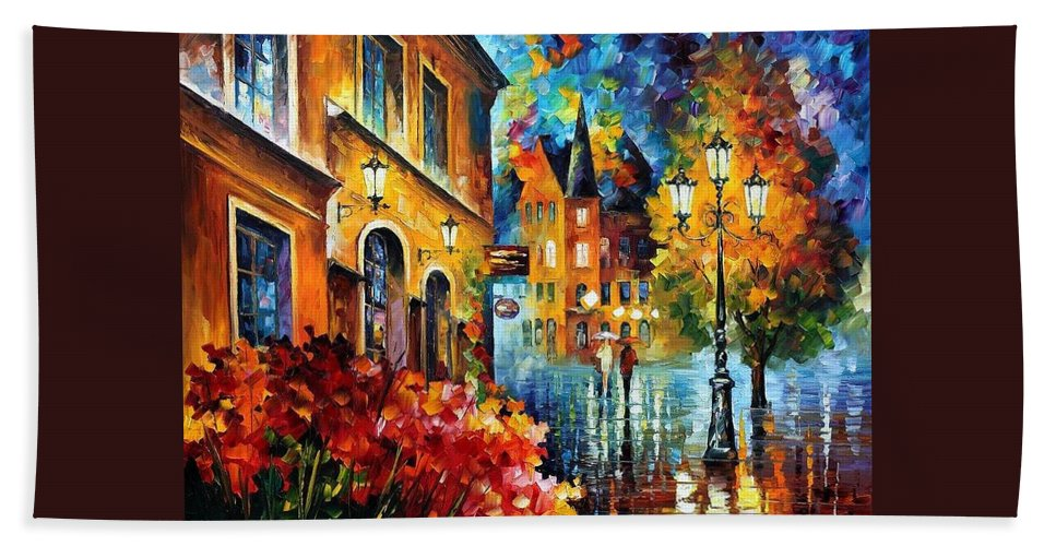 Afremov Beach Towel featuring the painting Lucky Night by Leonid Afremov