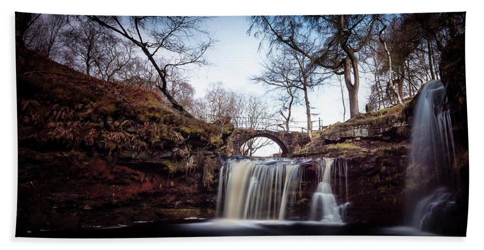Calderdale Beach Towel featuring the photograph Lumb Falls Panoramic by Gary Turner
