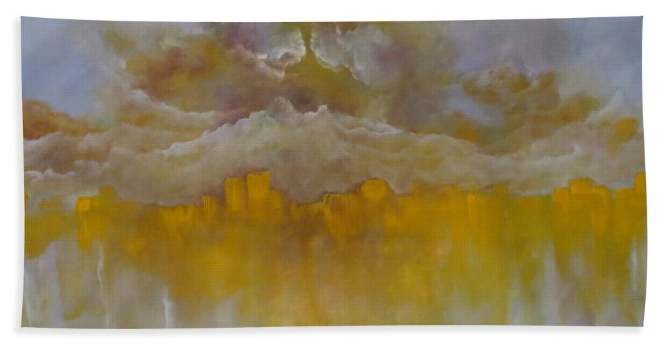Abstract Beach Towel featuring the painting Luminescence by Soraya Silvestri